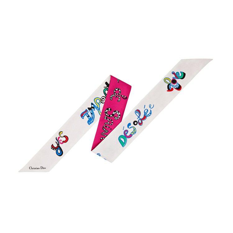 Mitzah白色絲質Niki de Saint Phalle文字藝術圖騰印花絲巾...