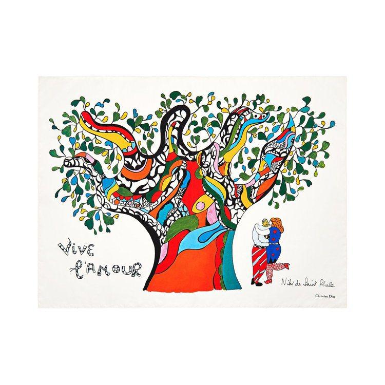 Niki de Saint Phalle愛情藝術圖騰印花方巾,售價18,500元...