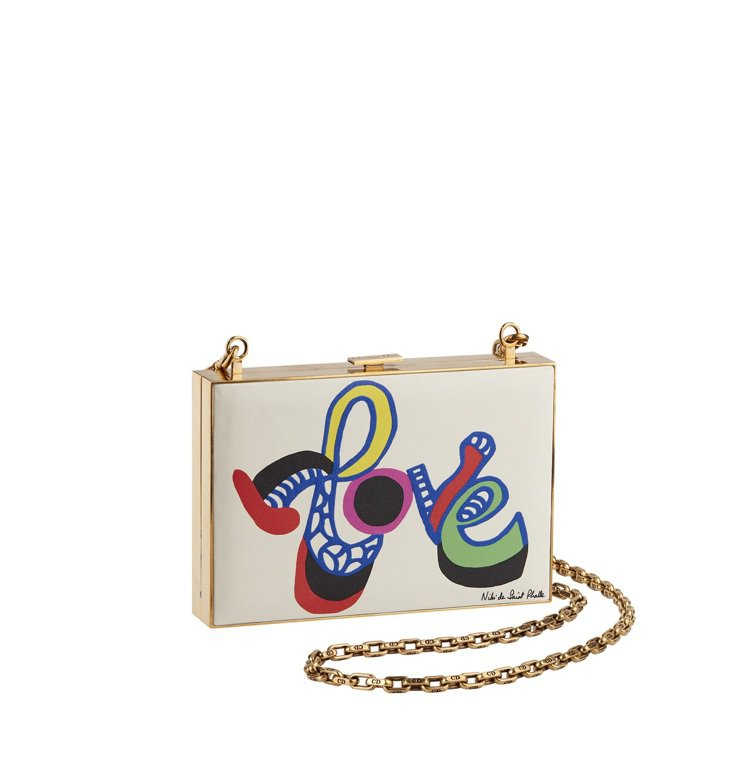 Niki de Saint Phalle文字藝術圖騰印花方殼晚宴包,售價24萬5...