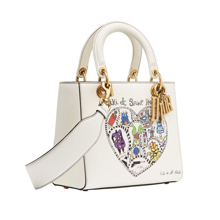 Lady Dior拿鐵白小牛皮Niki de Saint Phalle心型藝術圖...