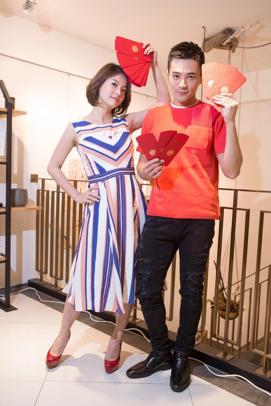 是元介(右)、王樂妍出席經紀公司尾牙喜氣洋洋。圖/mm2滿滿額娛樂提供