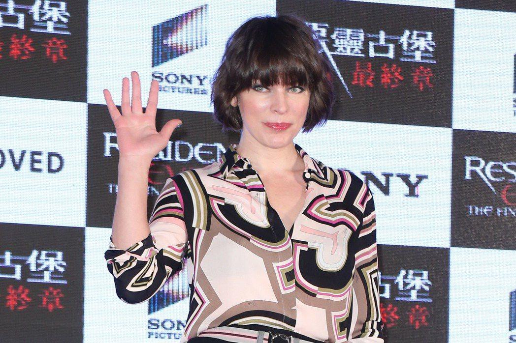 曾經訪台的「惡靈古堡」女主角蜜拉喬娃薇琪為台灣祈福。圖/聯合報系資料照