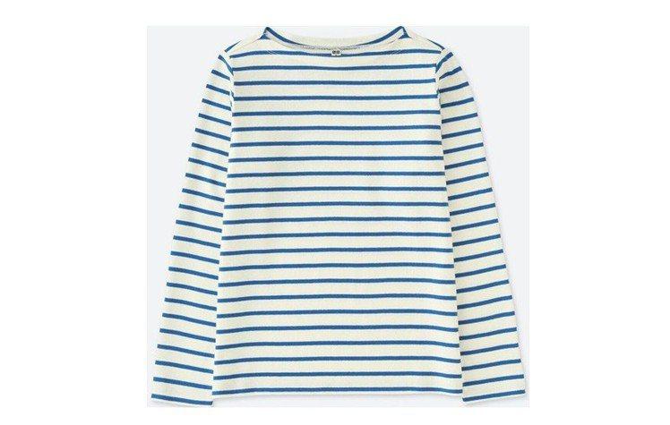 條紋船型領T恤 (長袖)490元。圖/UNIQLO提供