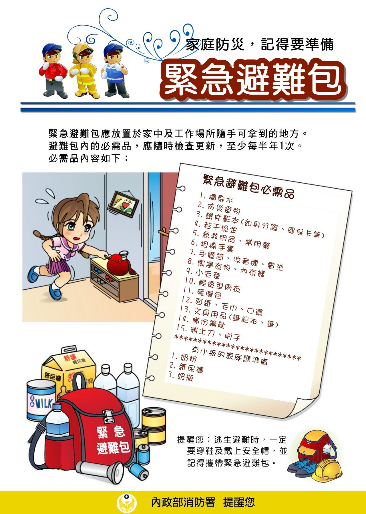 緊急避難包必需品。圖擷自消防署網站