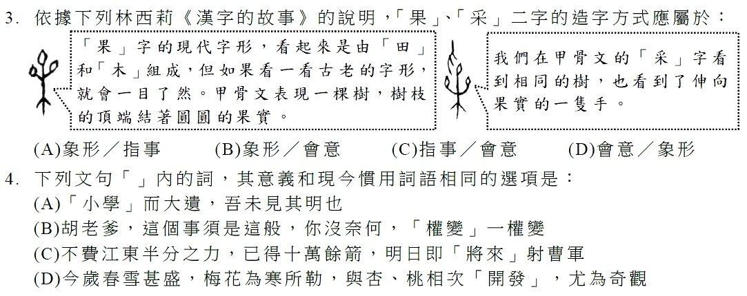 105年學測國文第3題曾引用林西莉甲骨文名著「漢字的故事」,要考生辨別「果」、「...