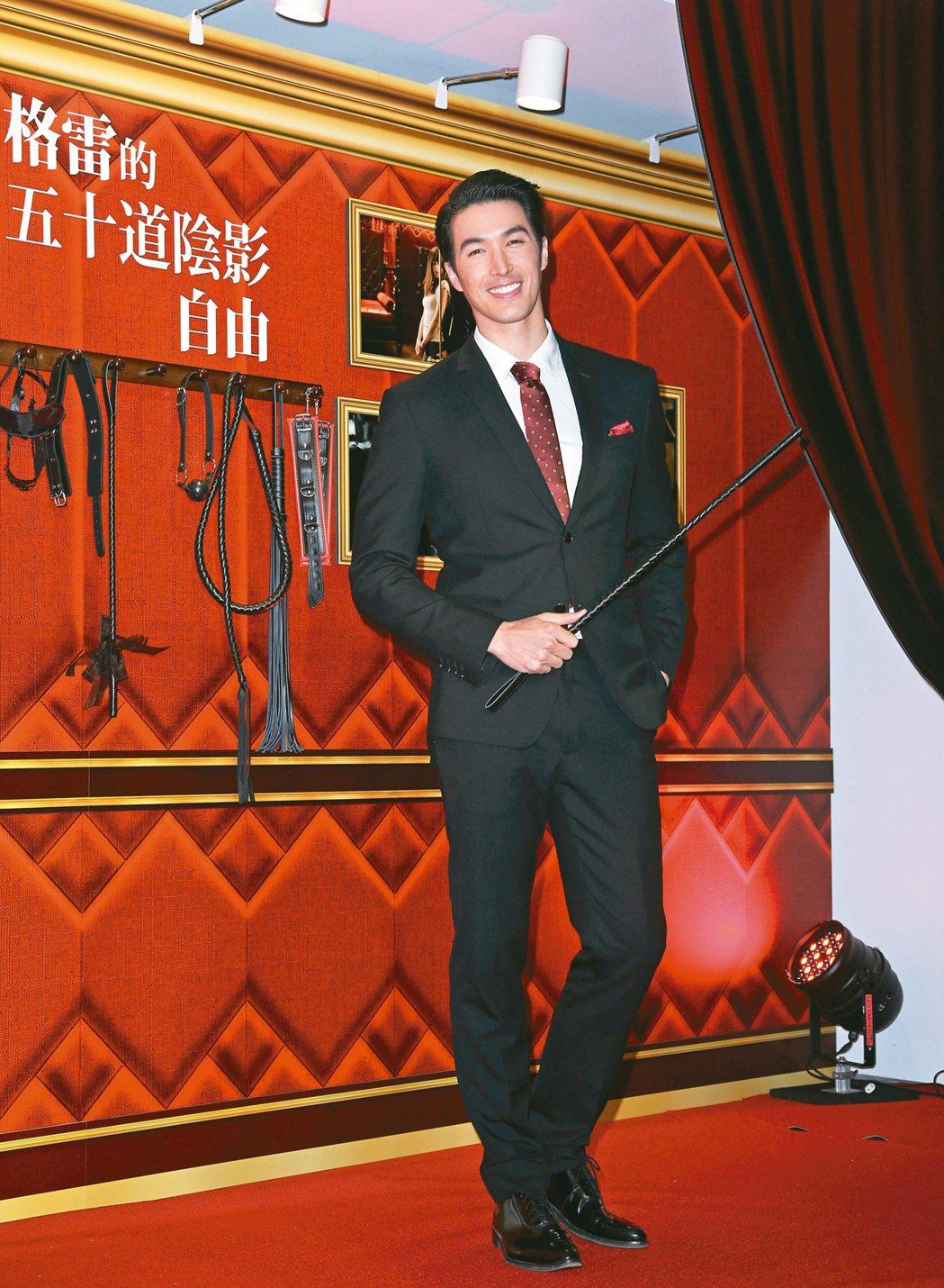 錦榮(圖)昨出席「格雷的五十道陰影:自由」首映會。記者陳瑞源攝影