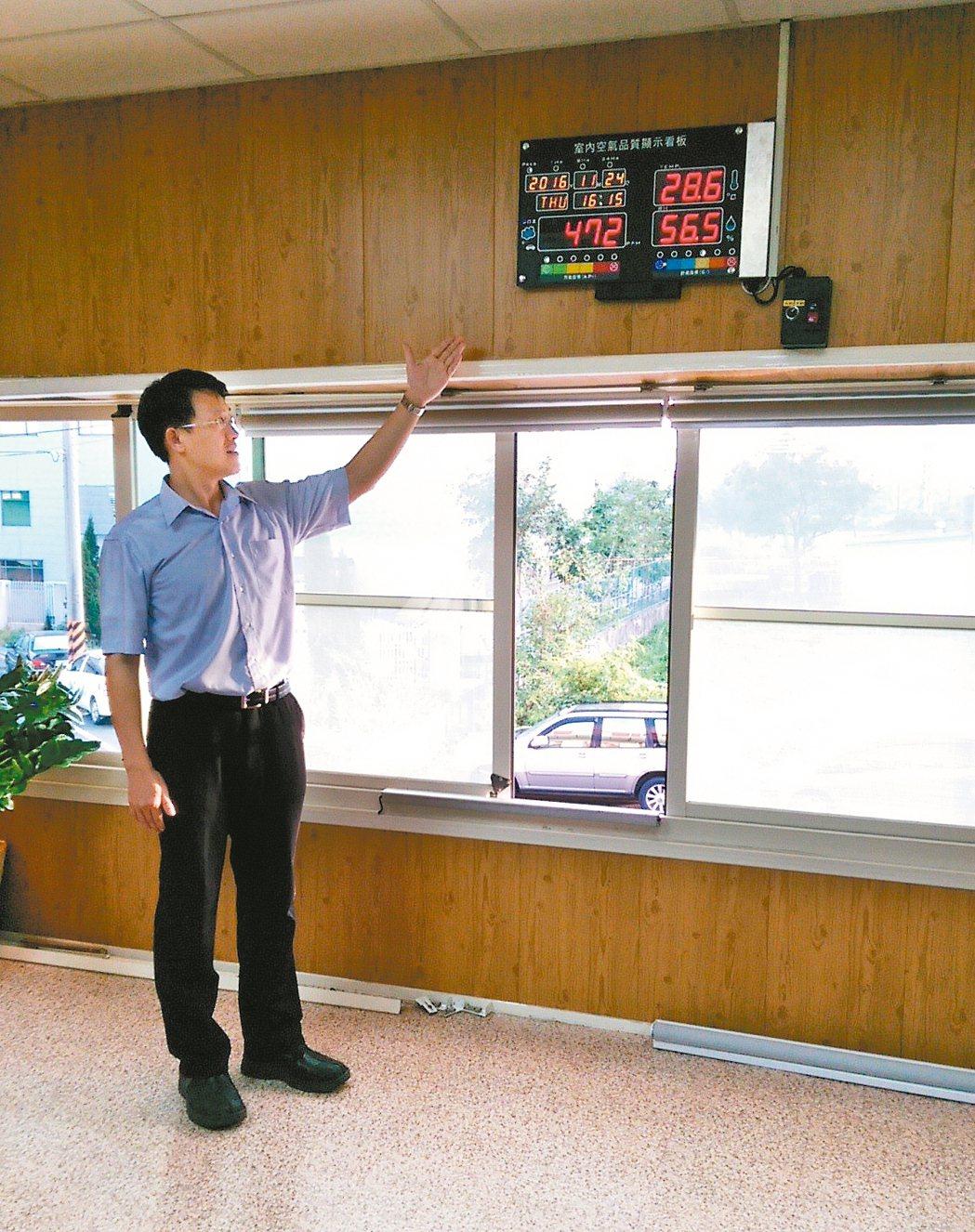 銘祥科技總經理楊俊銘表示,JNC智能開窗機自動偵測危險,自動開窗通風。 莊智強/...