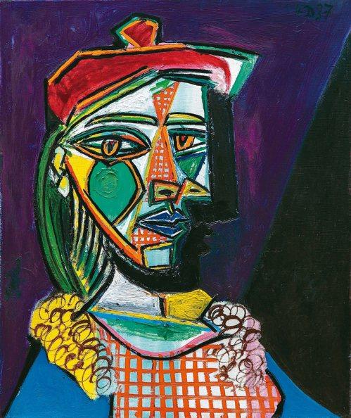 畢卡索作品「戴貝雷帽、穿格子裙的女子」首度登上拍場。 蘇富比/提供