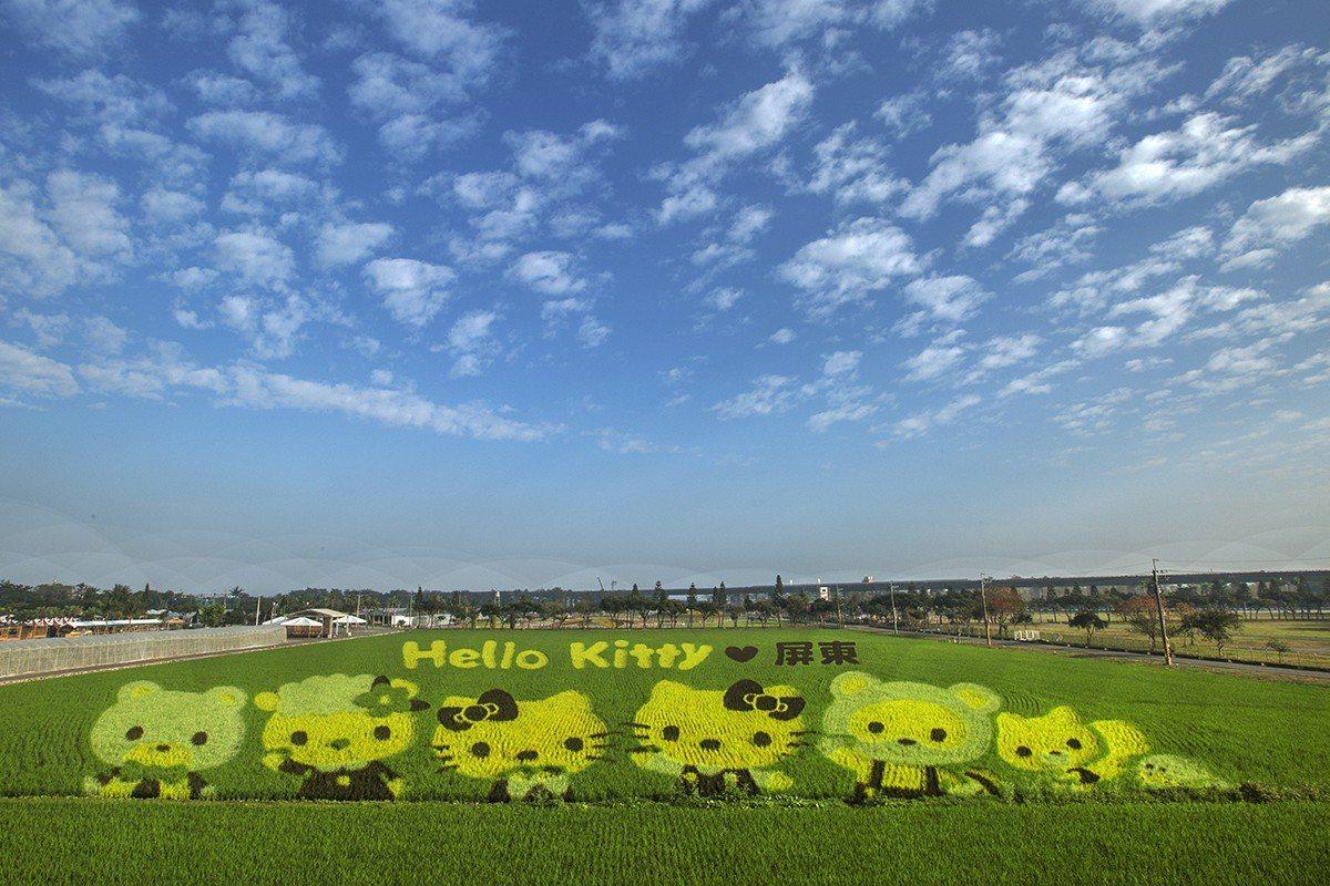屏東熱帶農業博覽會種出全球獨一無二3D立體的Hello Kitty彩稻田。(圖/...