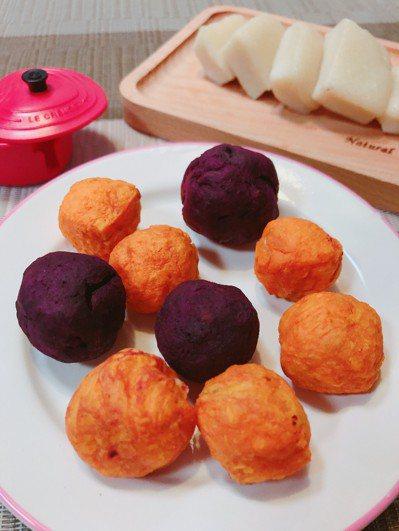 不同顏色的地瓜和年糕製成彩色的地瓜球