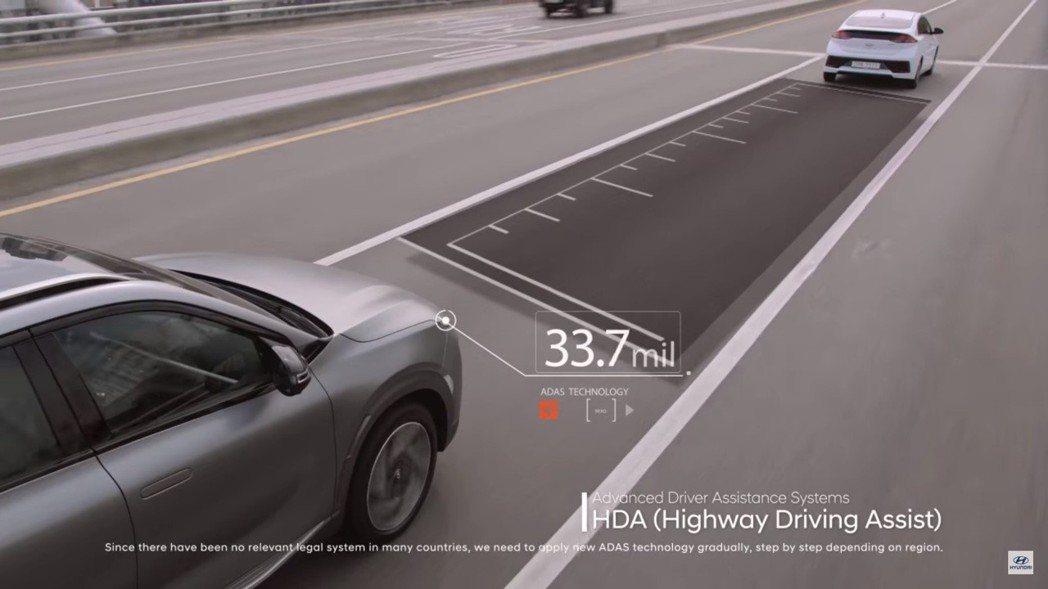 HDA高速公路駕駛輔助。 摘自Hyundai Nexo影片