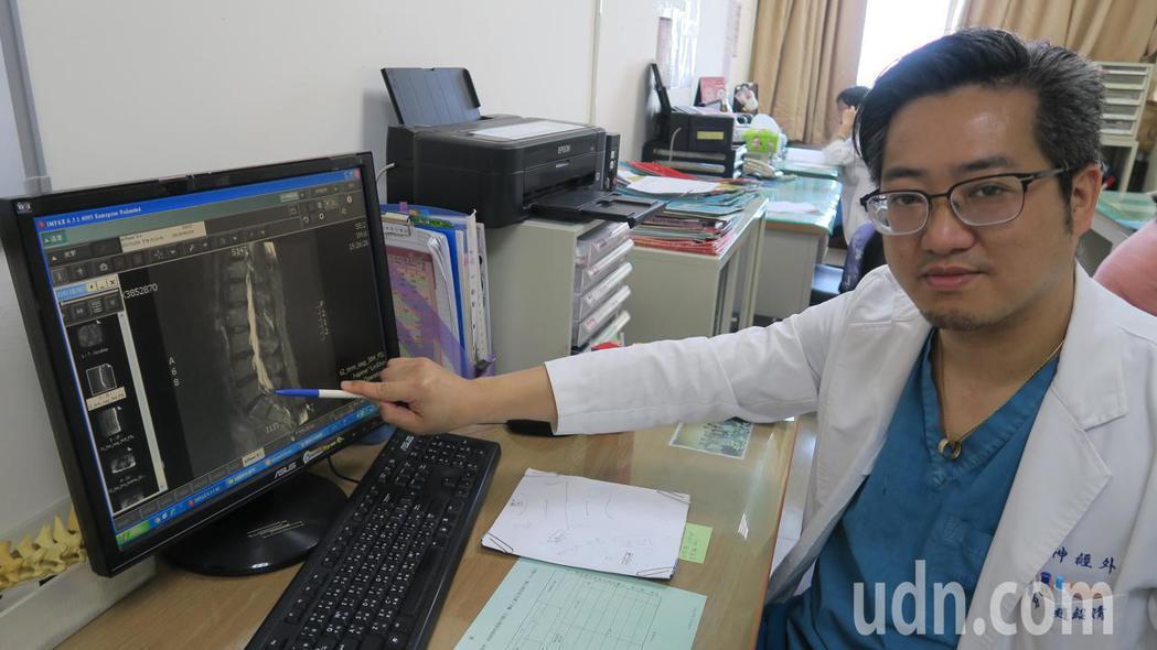 彰化醫院神經外科主任趙紹清說69歲楊先生脊椎已退化,加上突來的外力才會造成椎間盤...