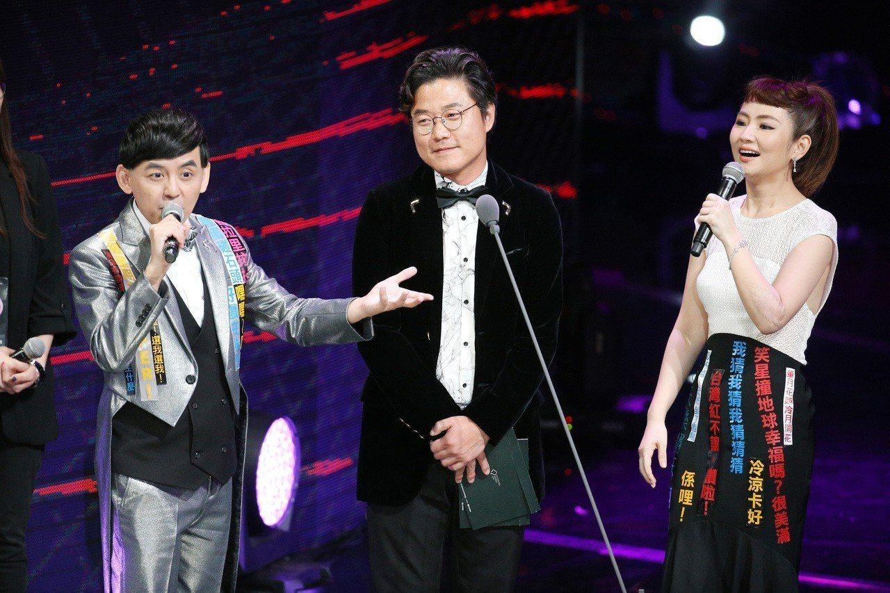 韓國名製作人羅䁐錫(中)曾受邀來台參加第52屆金鐘獎頒獎典禮。圖/聯合報系資料照