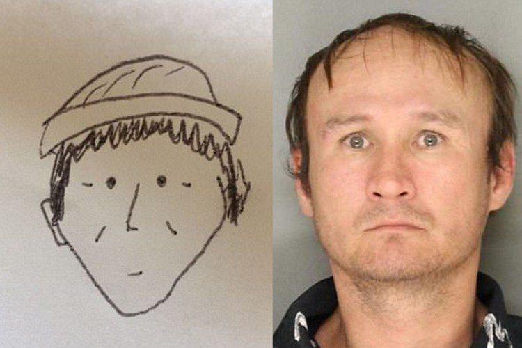 目擊者以簡陋筆觸勾勒嫌犯的五官,不僅眼睛只有兩個黑點,連鼻子也只以L字呈現。 圖...