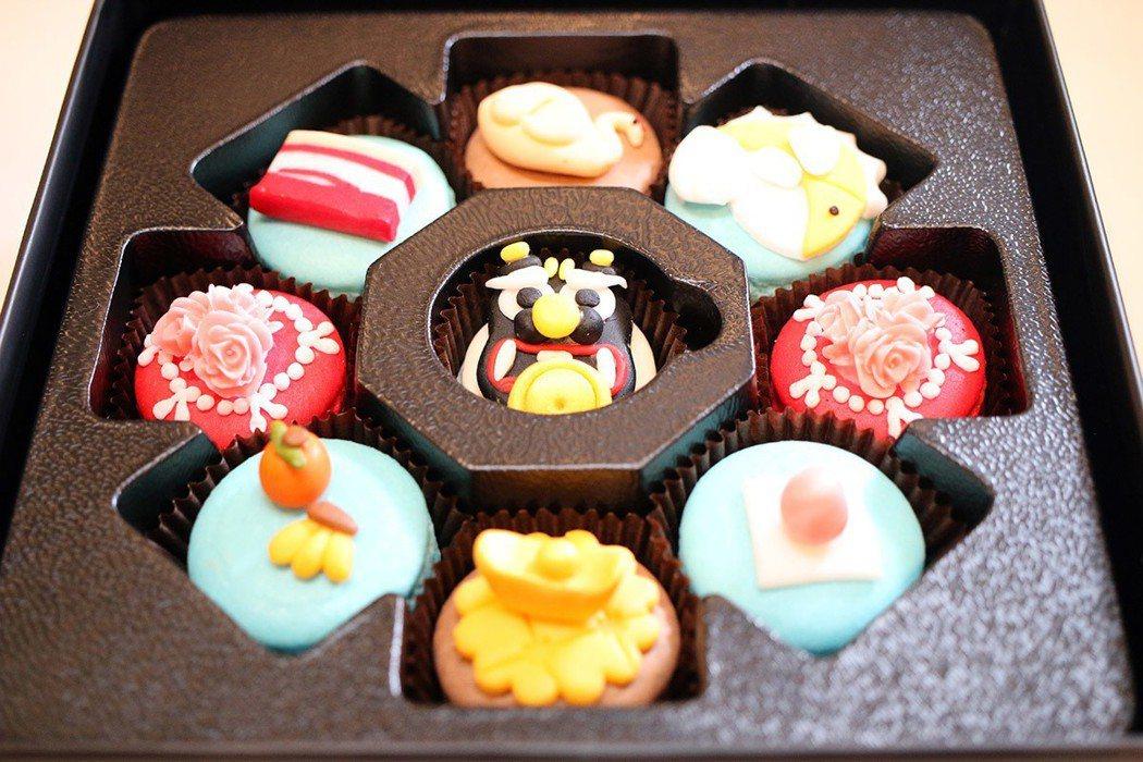 宴王馬卡龍將信徒拜拜的供品巧妙融入在法式甜點裝飾中。