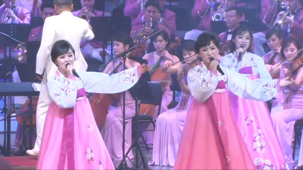 北韓藝術表演團睽違15年半,8日晚間於江陵市藝術中心舉行首場演出。路透