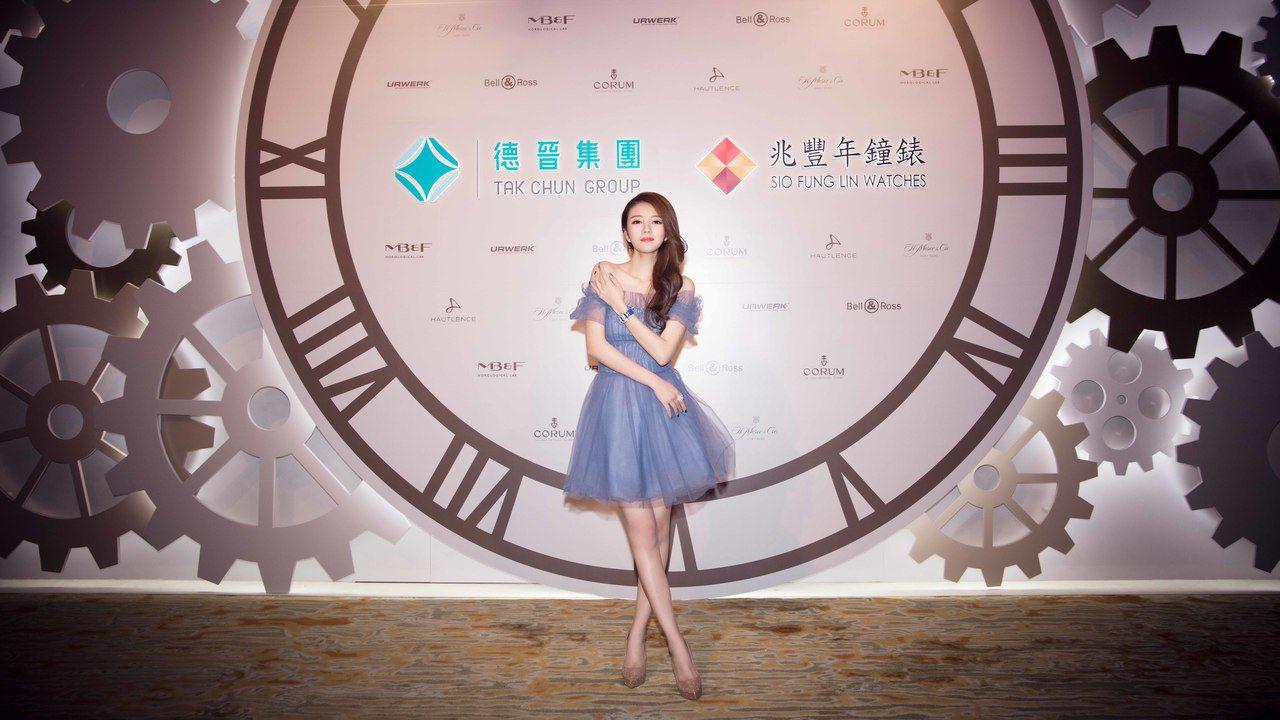 安以軒出席澳門美高梅兆豐年鐘表綜合店開幕活動,配戴崑崙的百萬鑽表。圖/崑崙表提供
