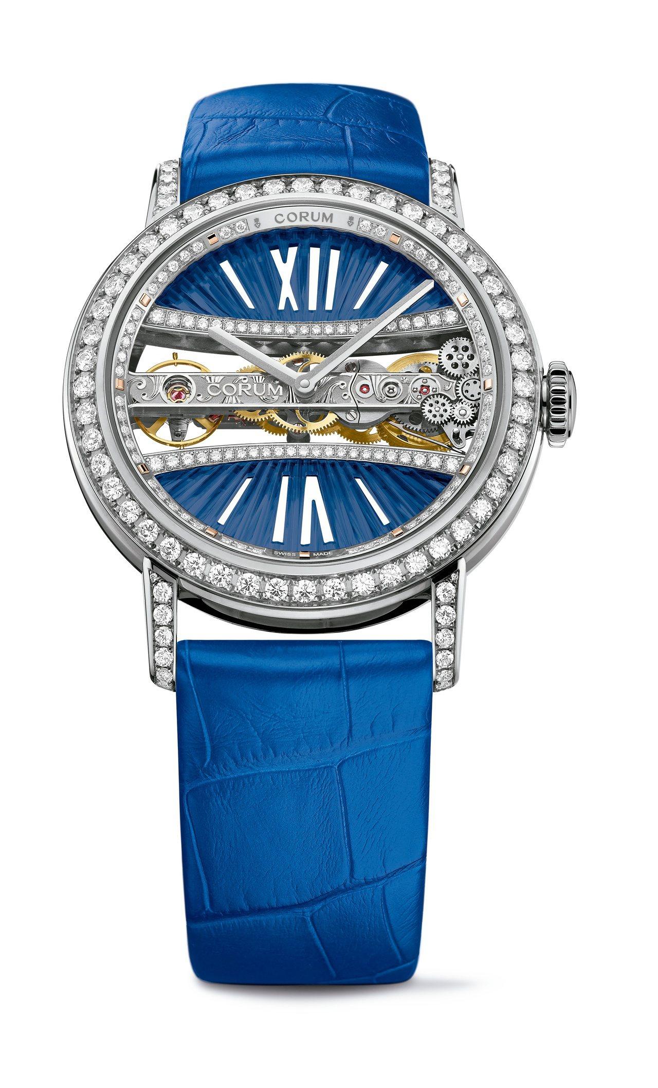 金橋系列藍色鑽表,39豪米白K金鑲鑽表殼,193萬2,000元。圖/崑崙表提供