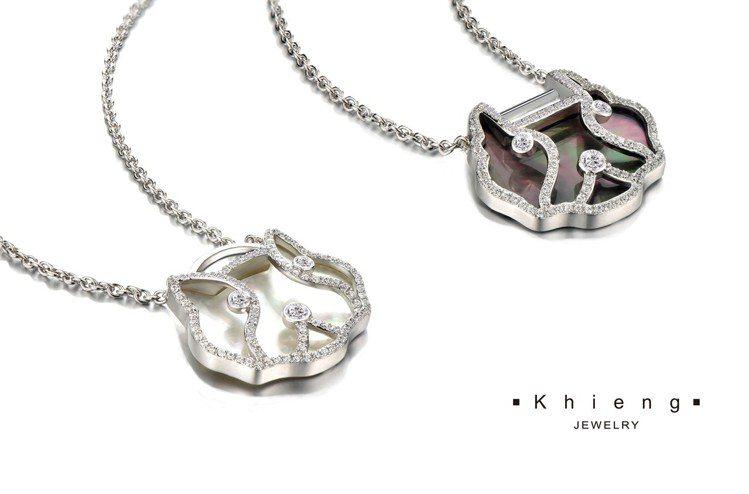 如意狗 LUCKY DOG」系列對鍊,銀質鑲嵌黑或白珍珠母貝,搭配鋯石,各15,...