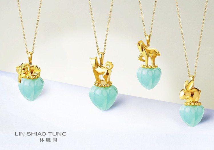 隨玉而安 My Jade系列Lucky 12,黃K金鑲嵌翠玉,35,800元。圖...