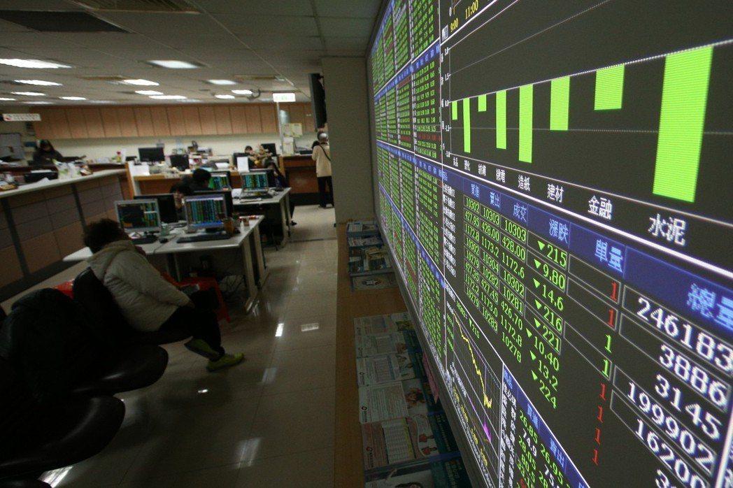 台北股市9日盤中一度下跌341點,股市投資人唉聲嘆氣,證券行的螢幕「綠油油」一片...