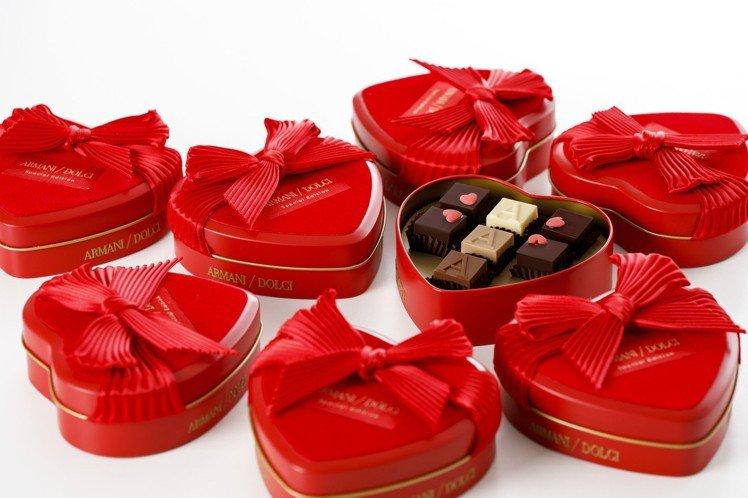 ARMANI/DOLCI限量熱戀紅巧克力心形鐵製禮盒,1,280元。圖/明日聚落...