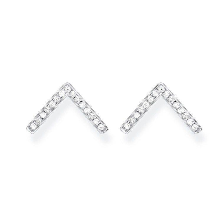 純銀倒V綴鋯石耳環,3,280元。圖/Thomas Sabo提供
