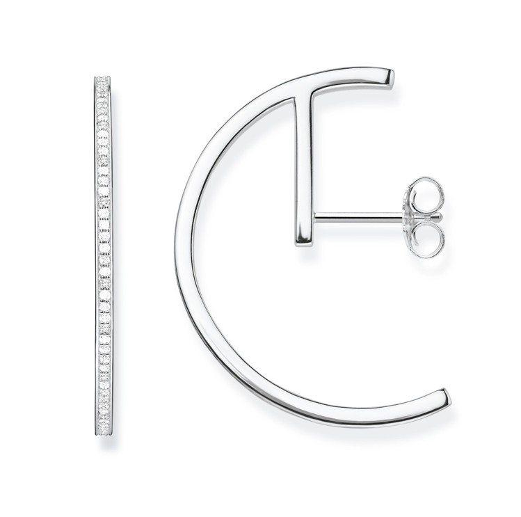 純銀墜鋯石半圓耳釘,8,580元。圖/Thomas Sabo提供