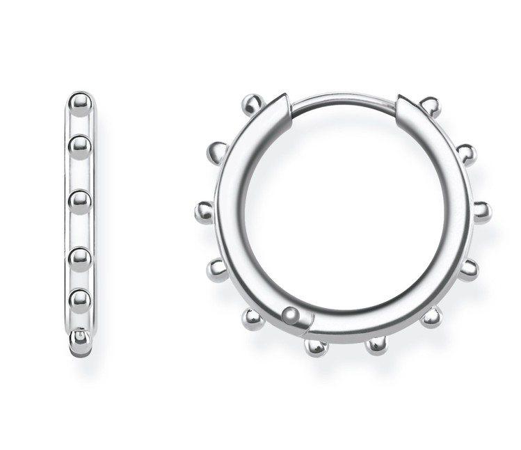 純銀綴銀珠圓圈耳環,3,980元。圖/Thomas Sabo提供