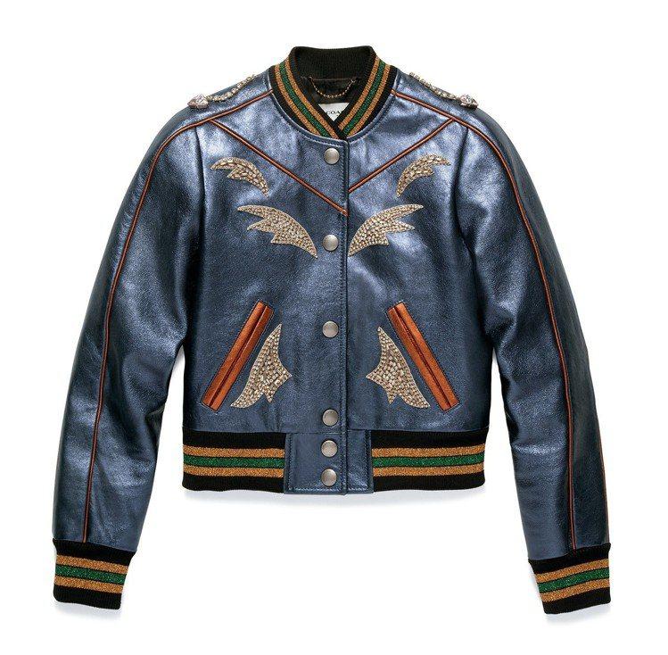 皮革外套Varsity Jacket,售價45,800元。圖/COACH提供