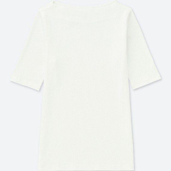 羅紋船型領T恤 (5分袖)390元。圖/UNIQLO提供