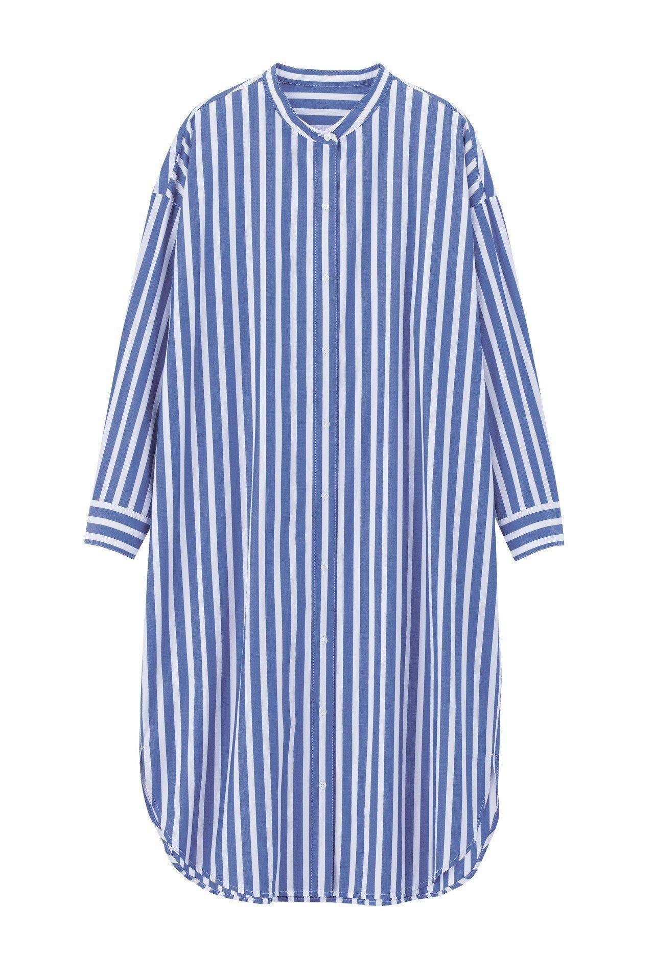 條紋襯衫連身裙(藍)590元。圖/GU提供