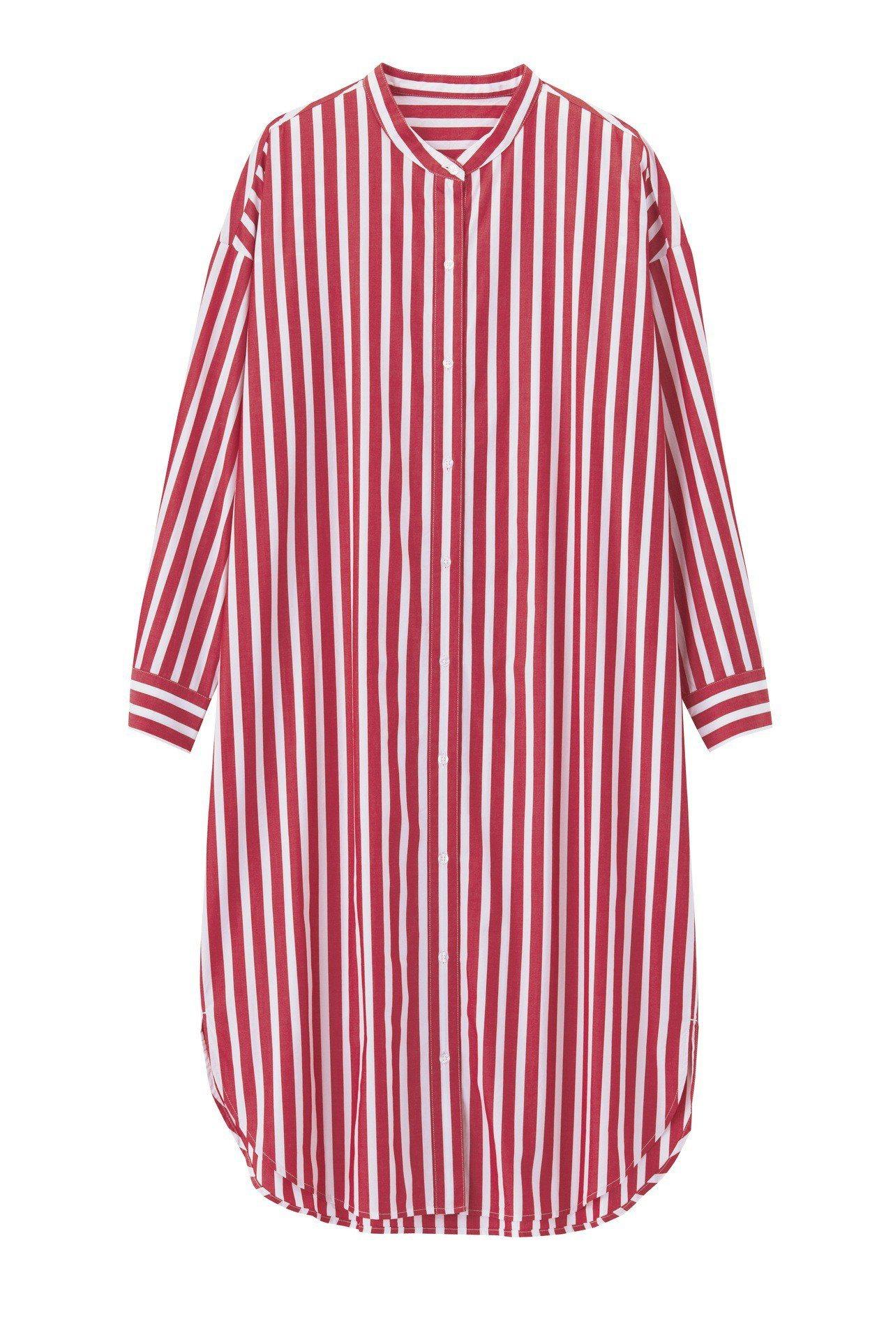 條紋襯衫連身裙(紅)590元。圖/GU提供