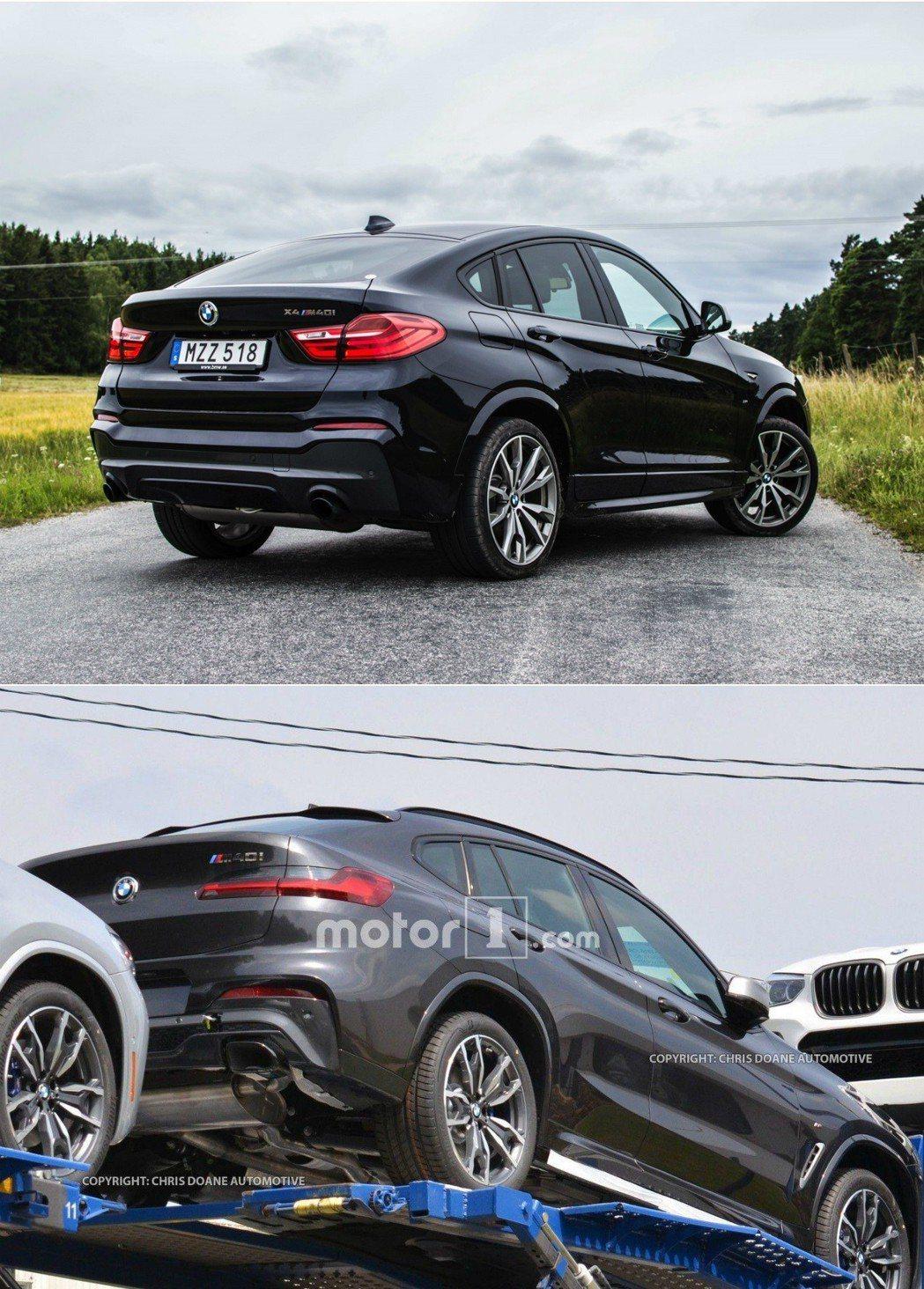 上圖為現行版X4 M40i,下圖則為被拍到的下一世代X4 M40i。 摘自BMW、Motor 1