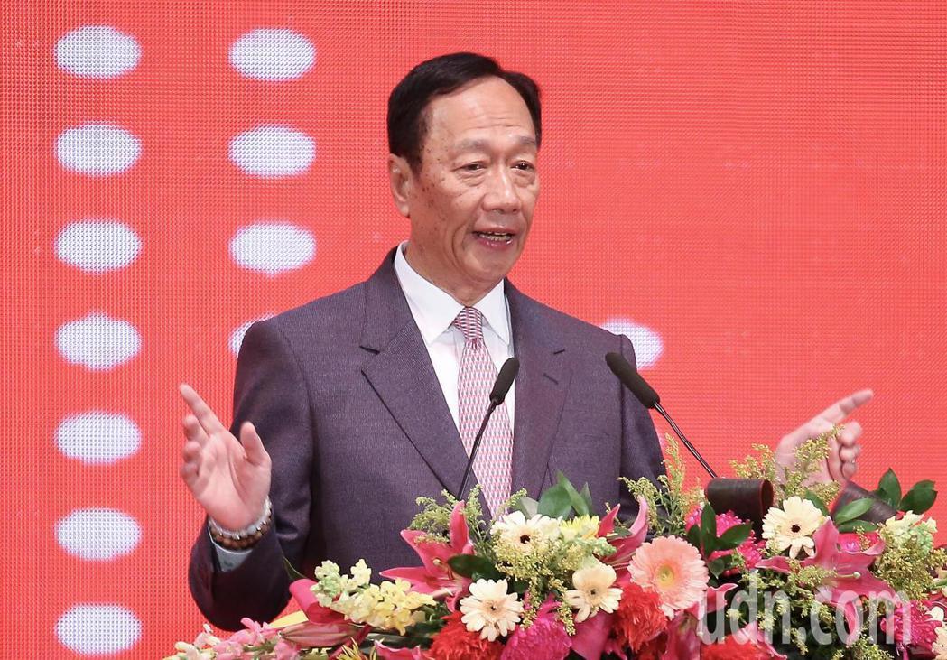 鴻海集團總裁郭台銘今天出席鴻海尾牙致詞。聯合報記者余承翰/攝影