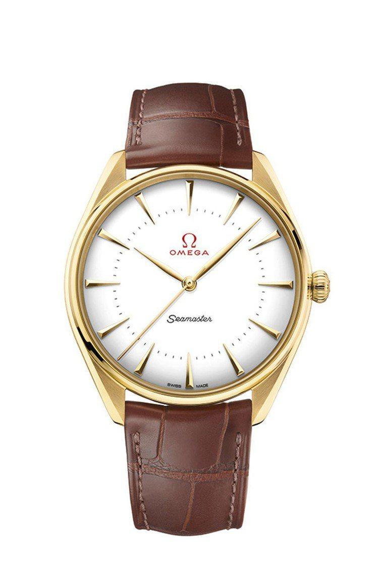 歐米茄海馬系列黃金典藏奧運腕表,18K黃金表殼,搭載自製8807大師天文台機芯,...