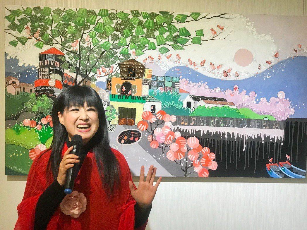 林小南是全世界第一位結合作曲、作詞、演唱、製作及繪畫的藝術家,畫作充滿歡樂。 攝...