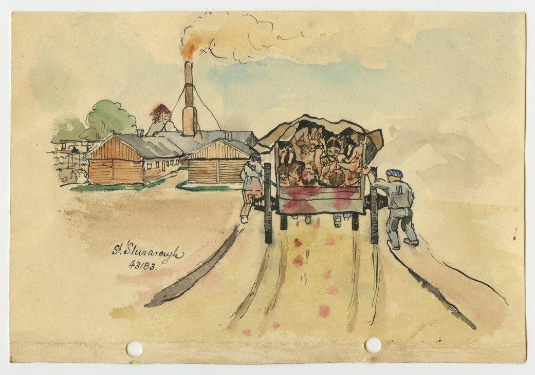 誰的滅絕營?圖為奧斯威辛集中營的紀念畫。 圖/奧斯威辛大屠殺博物館