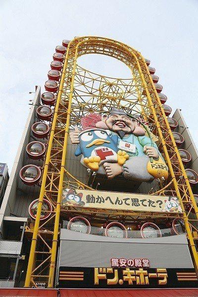 相信所有去過大阪的人都曾目睹過的地標,沿著唐吉訶德道頓堀店設計的橢圓摩天輪,中間...