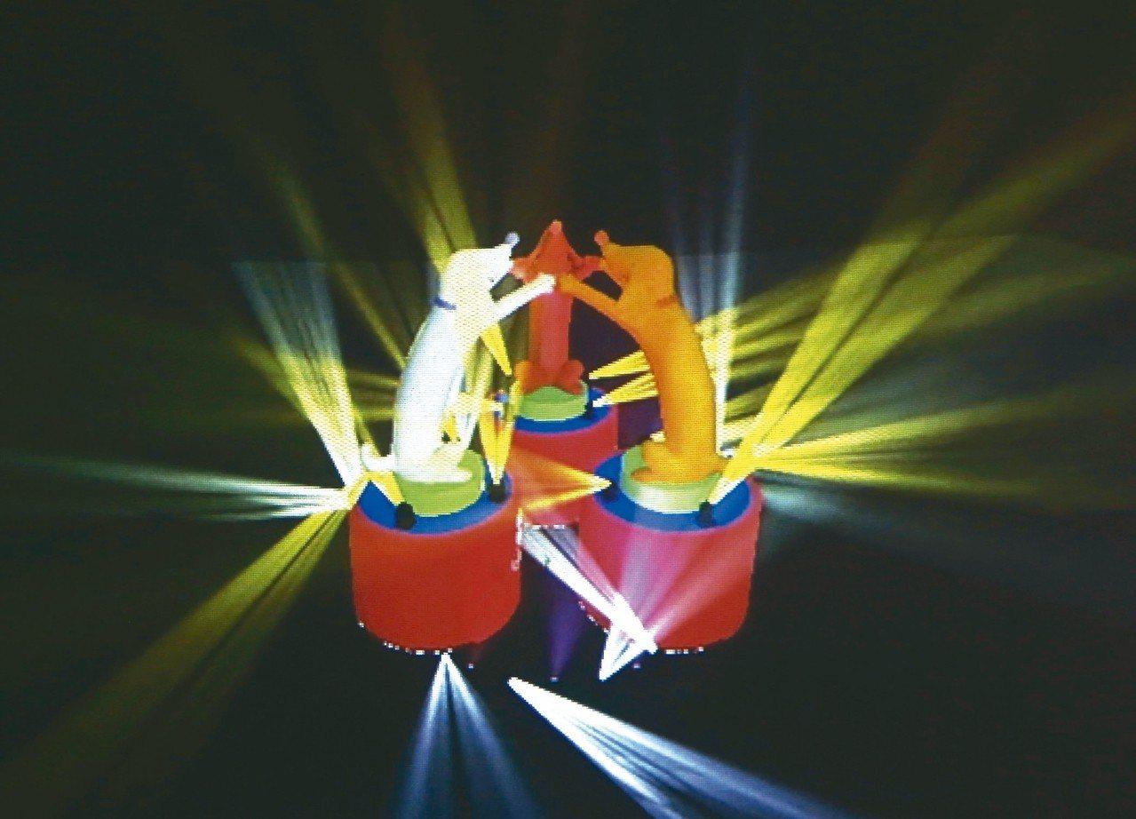 台北燈節主燈「幸福魔力狗」,由3隻台灣犬牽手環繞而成。 記者余承翰/翻攝