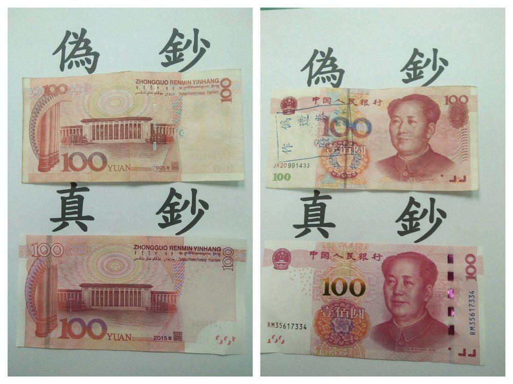 真假人民幣在視覺、印刷的差異對比。 記者廖炳棋/翻攝