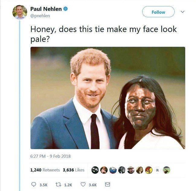 美共和黨人尼林9日在推特貼出一張哈利王子與梅根合照,但梅根的臉被改成1萬年前的英...