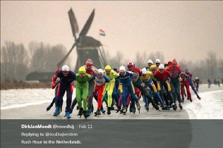 美國主播失言,認為荷蘭有網友在推特上放上照片揶揄。 截圖自網友Jos Duijv...