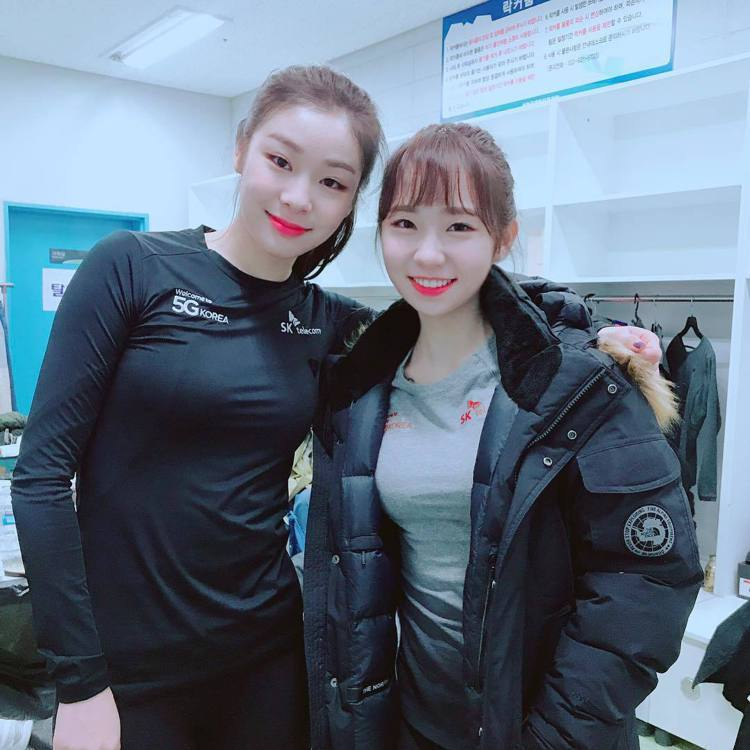 崔多彬(右)和滑冰女王金妍兒合照。圖/擷自instagram.