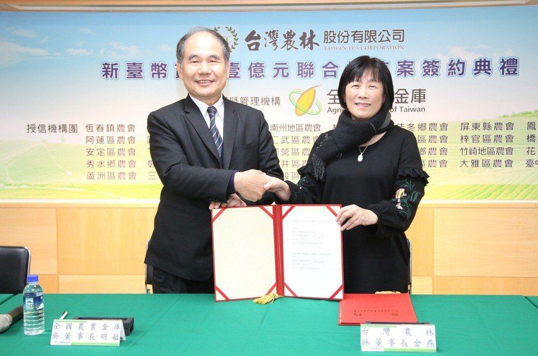 全國農業金庫董事長吳明敏(左)與台灣農林董事長林金燕(右)完成聯貸案簽約。 毛洪...