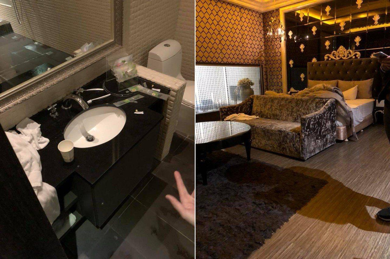有民眾預訂台中一間汽車旅館,沒想到房間完全沒清潔打掃,讓他相當傻眼。 圖擷自爆料...
