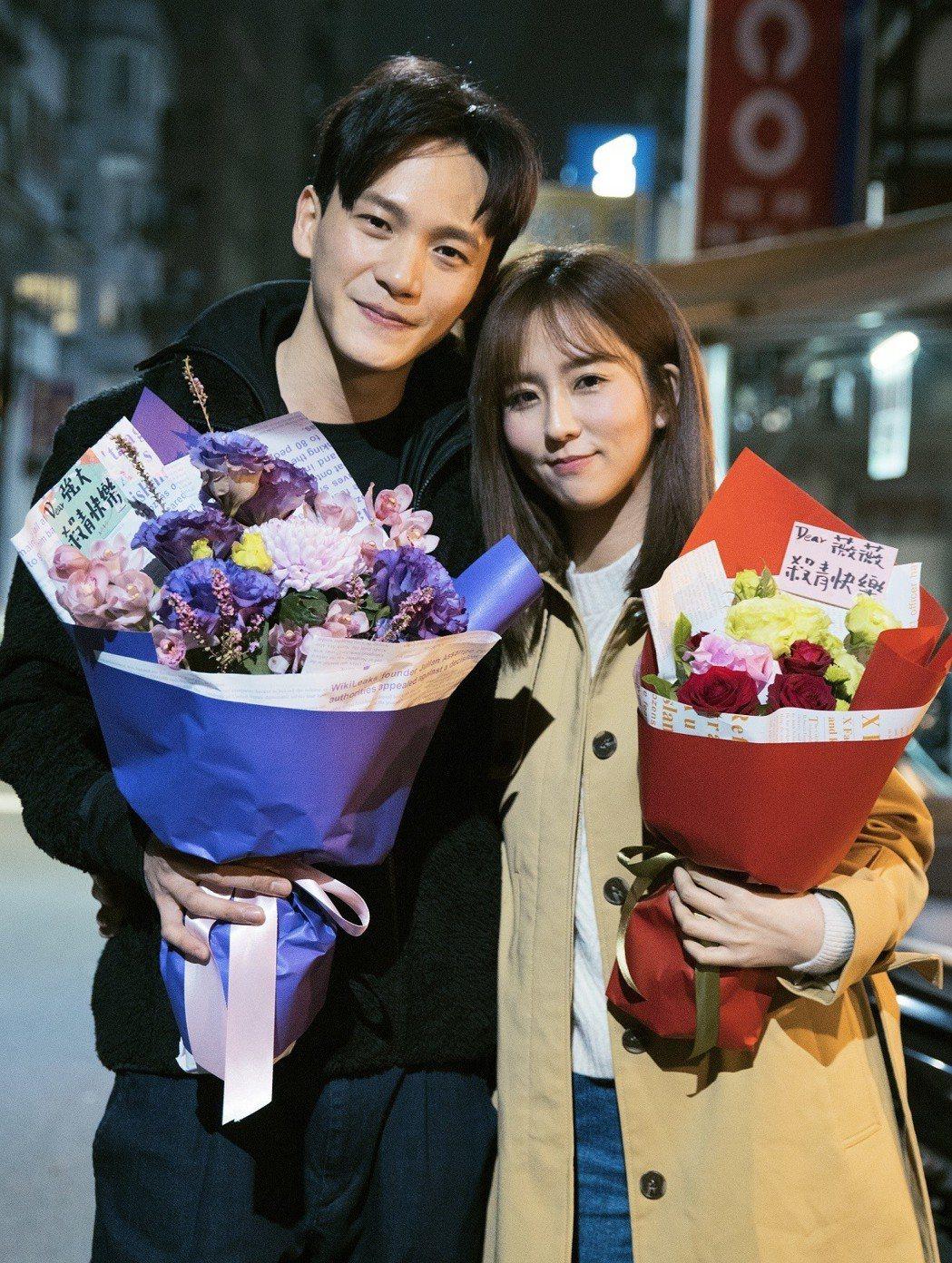 曹晏豪(左起)、周曉涵戲中「強薇CP」深受觀眾喜愛。圖/東森提供