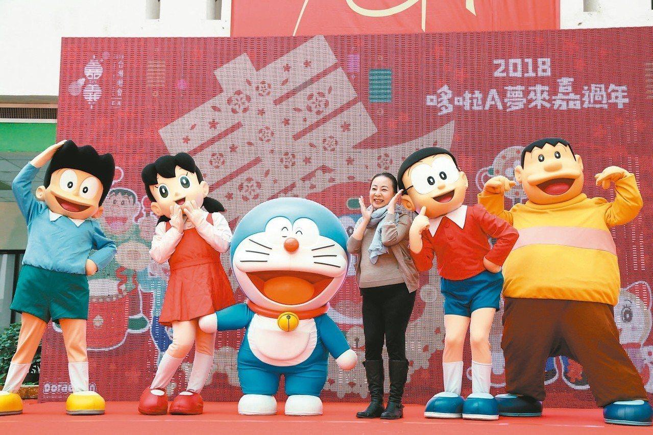 台灣燈會唯一購票參觀的「童趣玩嘉燈區」,有日本授權「哆啦A夢」空運來台展演。 圖...