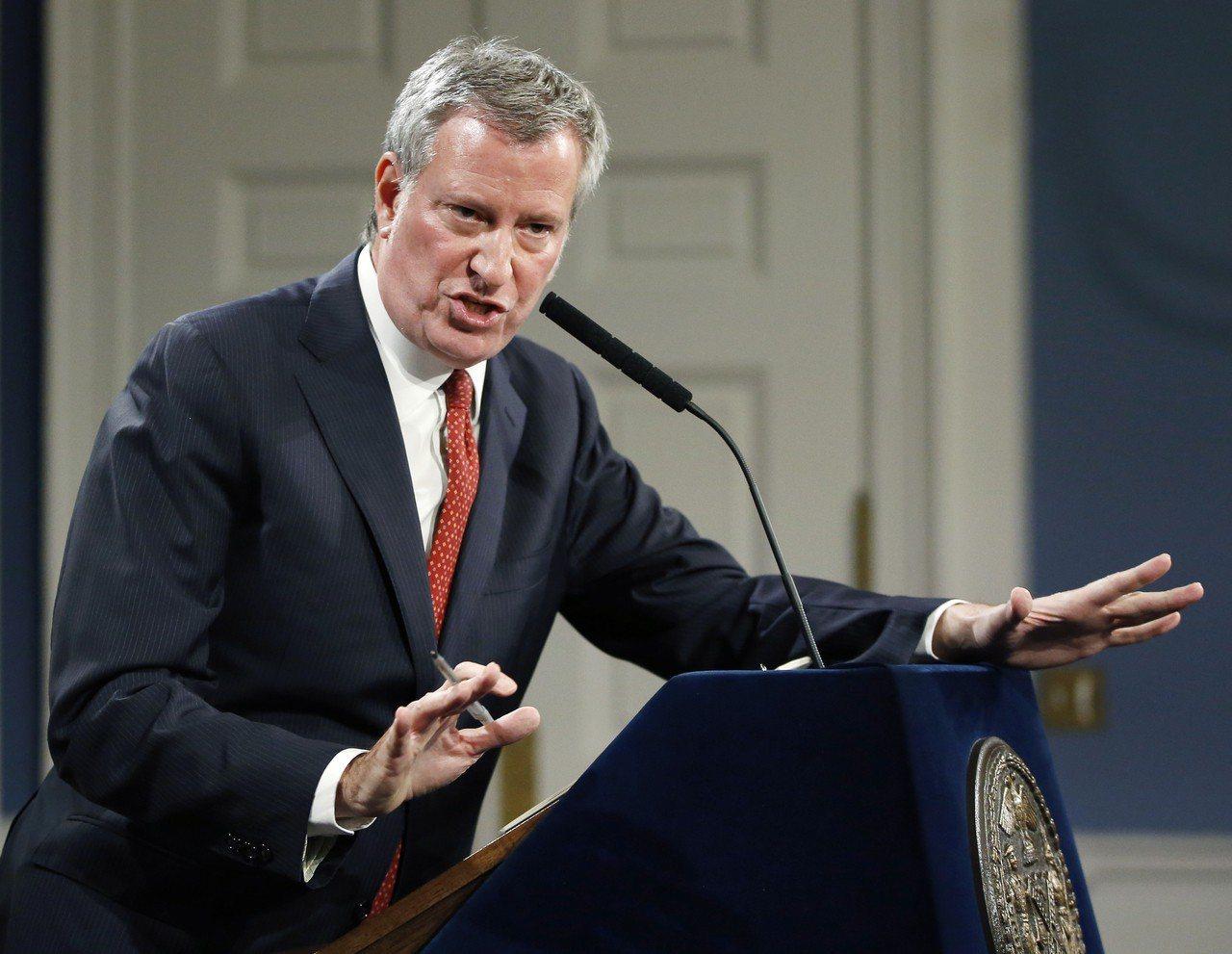 紐約市長白思豪。美聯社