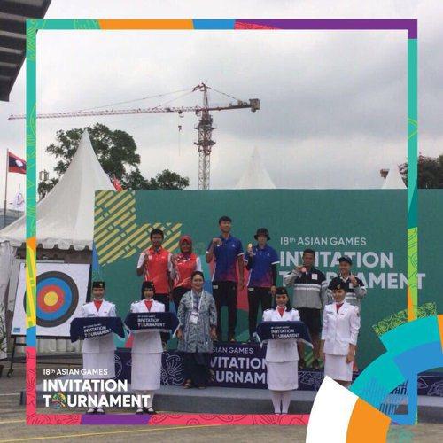 中華男子奪下射箭測試賽金牌。 擷圖自雅加達-巨港亞運官方推特。